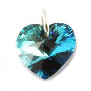 Swarovski Bermuda Blue Crystal Heart And Silver Charm